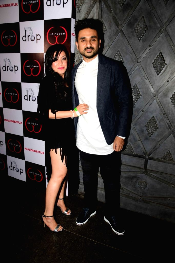 Actor Vir Das with his wife Shivani Mathur during the success of his show Netflix Abroad Understanding in Mumbai on May 2, 2017. - Vir Das