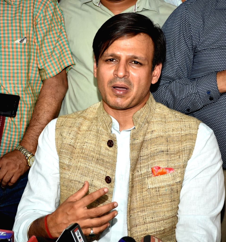 Actor Vivek Oberoi addresses a press conference in Ranchi, on April 26, 2019. - Vivek Oberoi