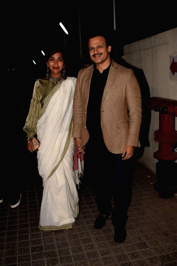 "Actor Vivek Oberoi along with his wife Priyanka Alva Oberoi at the special screening of film ""Padmaavat"" in Mumbai on Jan 24, 2018. - Vivek Oberoi"
