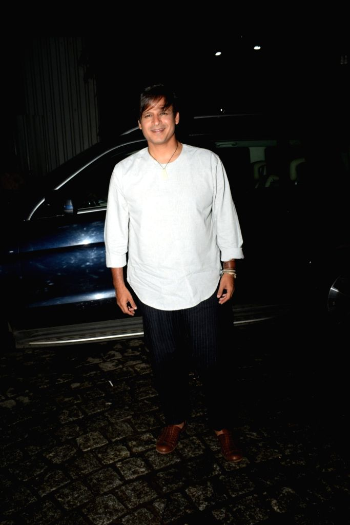 "Actor Vivek Oberoi at the success party of his recently released film ""PM Narendra Modi"", in Mumbai, on June 13, 2019. - Vivek Oberoi and Narendra Modi"