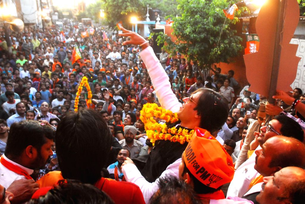 Actor Vivek Oberoi during a rally in support of BJP candidate from Amritsar, Arun Jaitely in Amritsar on April 17, 2014.