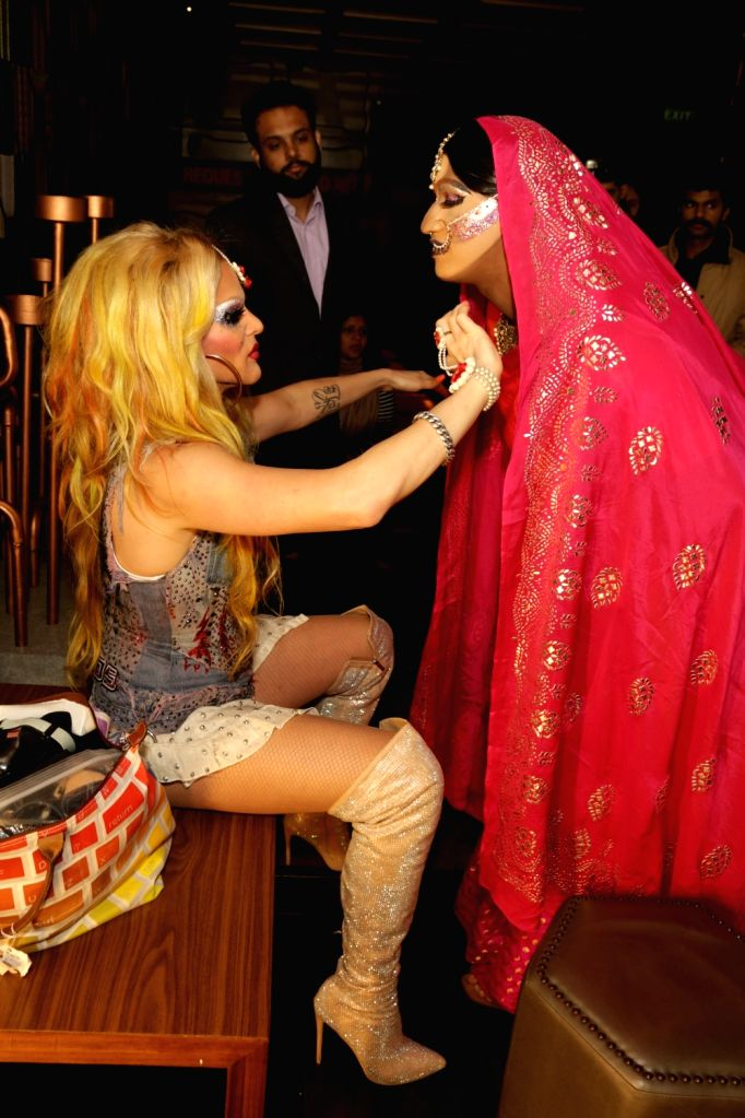 Actor Willam Belli with Drag Queen, Maya during a programme in New Delhi, on Feb 17, 2018. - Willam Belli