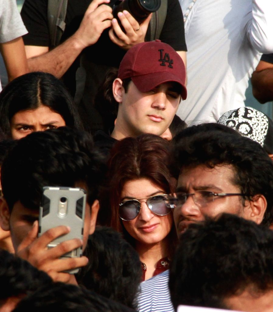 Actor-writer-producer Twinkle Khanna along with her son Arav during peaceful protest against the barbaric rape and murder of an eight-year-old girl in Kathua in Jammu and Kashmir, and sexual ... - Khanna