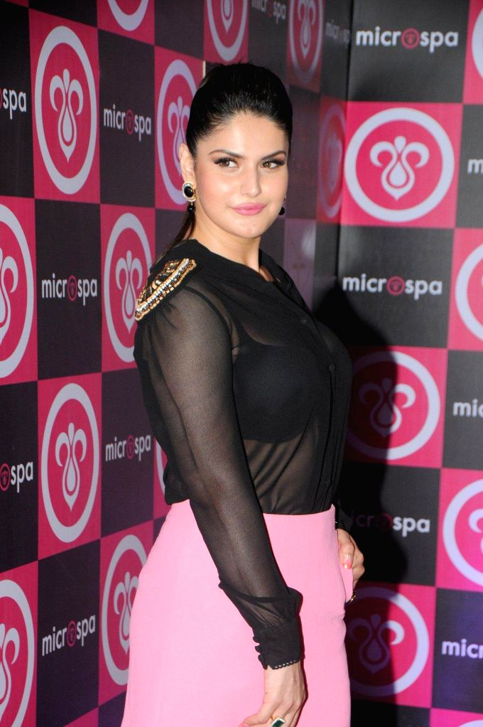 Actor Zarine Khan during the launch of Microspa, a hair and scalp care treatment spa in Mumbai, on May 7, 2014. - Zarine Khan
