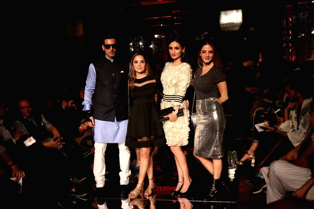 Actor Zayed Khan along with his wife Malaika Parekh and Interior designer Sussanne Khan during the Lakme Fashion Week Winter/Festive 2017 in Mumbai on Aug 18, 2017. - Zayed Khan and Sussanne Khan