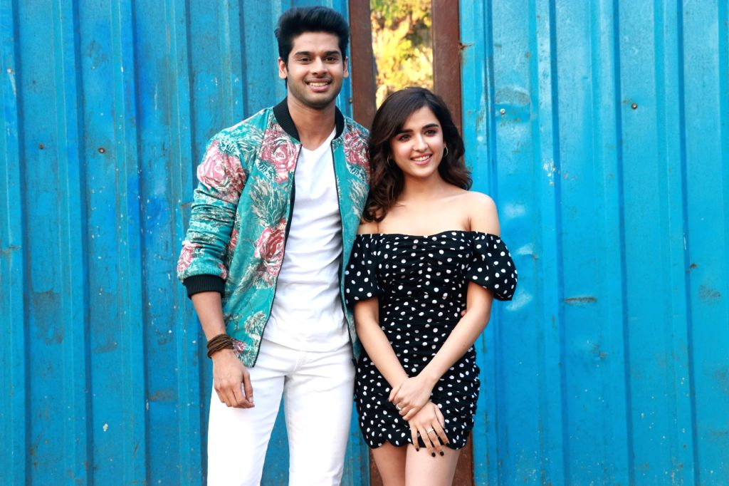 """Actors Abhimanyu Dassani and Shirley Setia during the promotions of their upcoming film """"Nikamma"""" on the sets of reality television show Bigg Boss 13, in Mumbai on Feb 7, 2020. - Abhimanyu Dassani and Shirley Setia"""