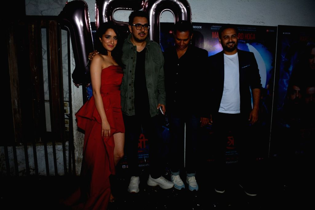 "Actors Abhishek Banerjee, Shraddha Kapoor, producer Dinesh Vijan and director Amar Kaushik at success party of their film ""Stree"" in Mumbai on Sept 18, 2018. - Amar Kaushik, Abhishek Banerjee and Shraddha Kapoor"