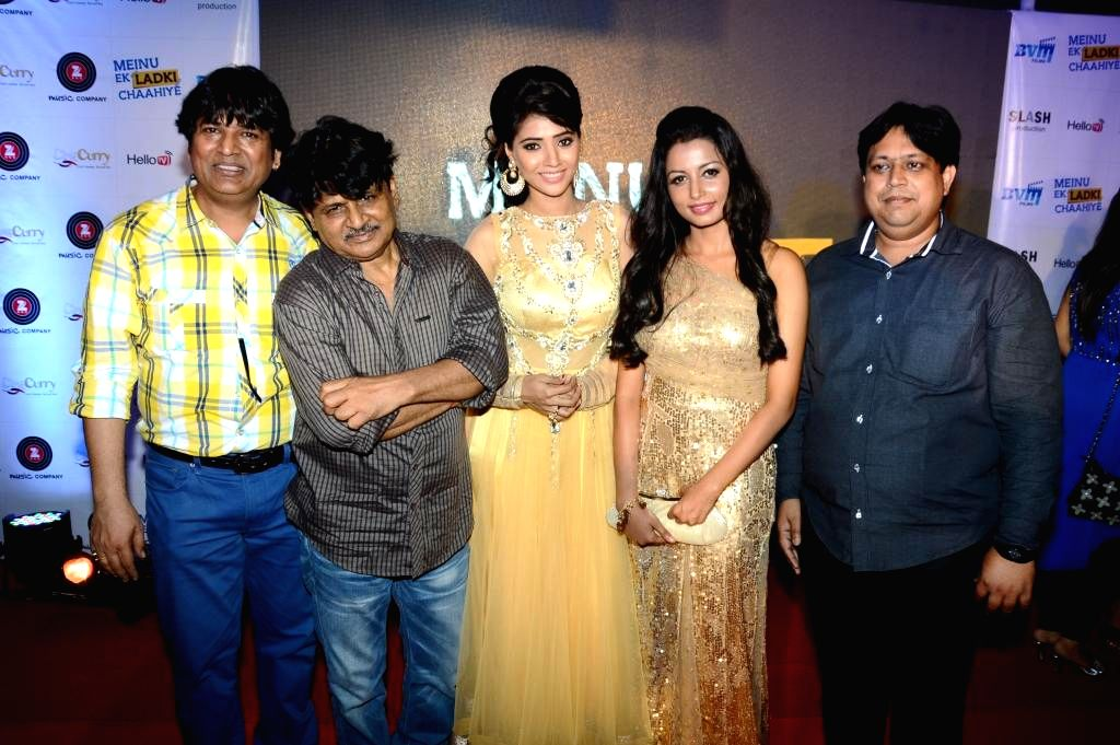 Actors Abhishek Bindal, Raghuvir yadav, Rashee, Reecha Sinha,Manoj Bindal during the music launch of film Mainu Ek Ladki Chahiye in Mumbai on Aug 11, 2014. - Abhishek Bindal, Raghuvir and Reecha Sinha