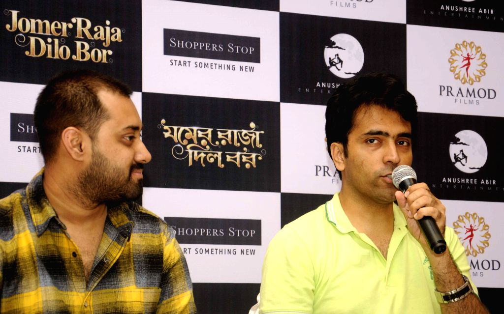 Actors Abir Chatterjee and Abir Sengupta during promotions of his film `Jomer Raja Dilo Bor` in Kolkata, on Aug 14, 2015. - Abir Chatterjee and Abir Sengupta