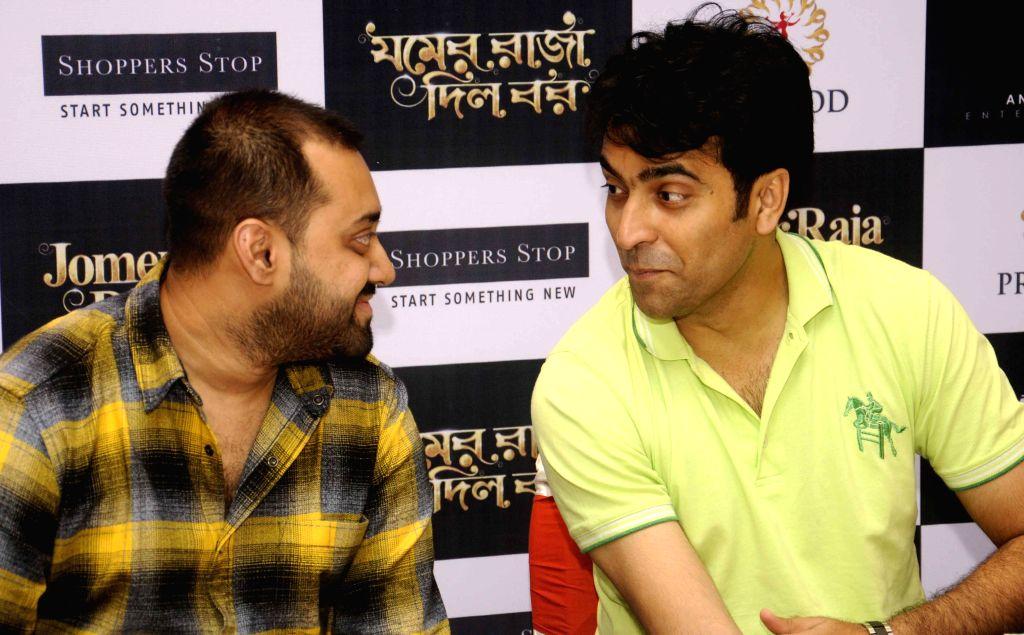 Actors Abir Chatterjee and Abir Sengupta during promotions of his film `Jomer Raja Dilo Bor` in Kolkata, on Aug 14, 2015. - Abir Chatterjee and Abir Sengupta