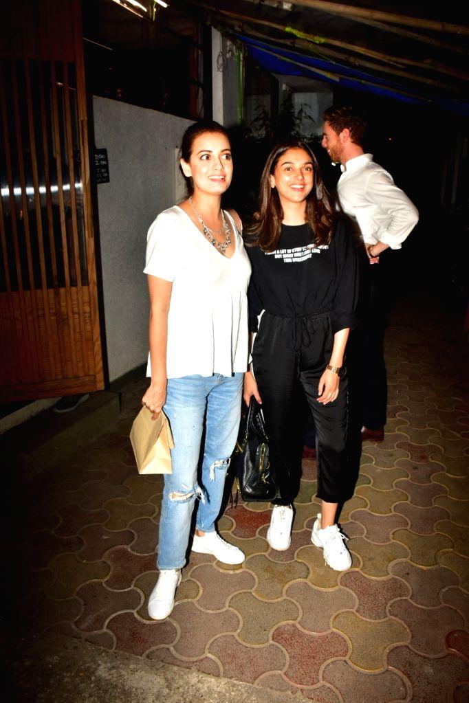 Actors Aditi Rao Hydari and Dia Mirza seen at Bandra in Mumbai on Oct 16, 2019. - Aditi Rao Hydari and Dia Mirza