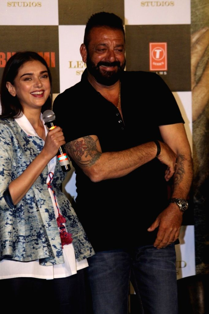 "Actors Aditi Rao Hydari and Sanjay Dutt during the trailer launch of their upcoming film ""Bhoomi"" in Mumbai on Aug 10, 2017. (Photo: IANS] - Aditi Rao Hydari and Sanjay Dutt"