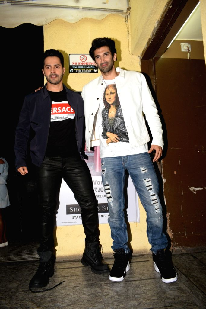 "Actors Aditya Roy Kapoor and Varun Dhawan at the screening of their upcoming film ""Kalank"" in Mumbai, on April 14, 2019. - Aditya Roy Kapoor and Varun Dhawan"