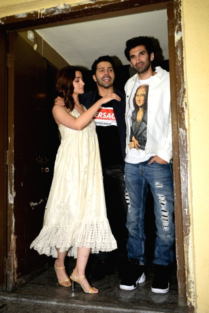 "Actors Aditya Roy Kapoor, Varun Dhawan and Alia Bhatt at the screening of their upcoming film ""Kalank"" in Mumbai, on April 14, 2019. - Aditya Roy Kapoor, Varun Dhawan and Alia Bhatt"