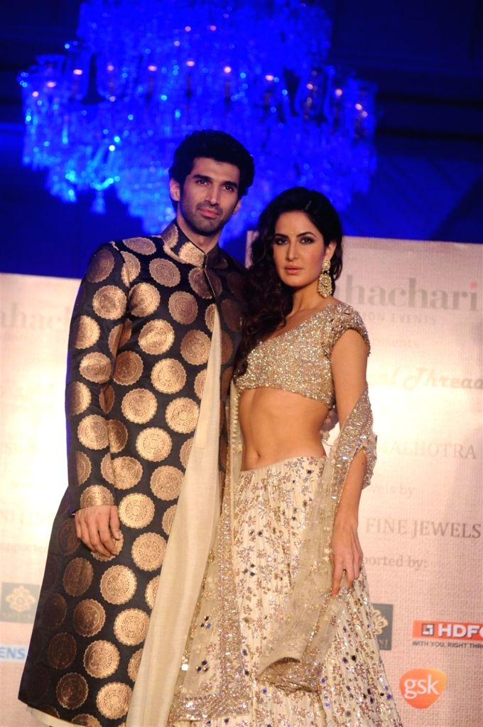 Actors Aditya Roy Kapur and Katrina Kaif during the fashion show by designer Manish Malhotra in Mumbai, on January 14, 2016. Manish named the collection as The Regal Threads. - Aditya Roy Kapur and Katrina Kaif