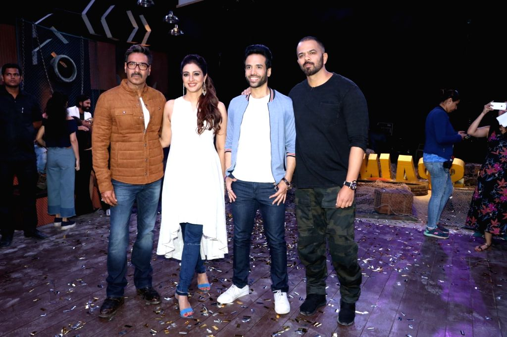 """Actors Ajay Devgan, Tabu, Tusshar Kapoor and Director Rohit Shetty during the promotion of their upcoming film """"Golmaal Again"""" in Mumbai on Sept 19, 2017. - Ajay Devgan, Tabu, Tusshar Kapoor and Director Rohit Shetty"""