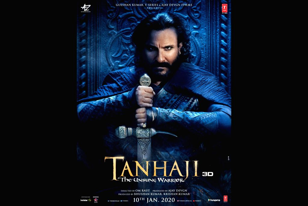 """Actors Ajay Devgn and Kajol took to social media on Wednesday to share actor Saif Ali Khan's fierce look from their upcoming film """"Tanhaji: The Unsung Warrior"""". In the new poster, kohl-eyed Saif can be seen sitting and holding a sword with his hands. - Saif Ali Khan, Ajay Devgn and Kajol"""