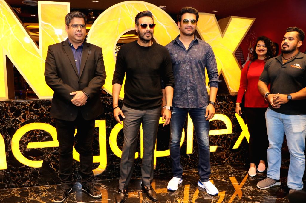 "Actors Ajay Devgn and Sharad Kelkar during a special screening of their film ""Tanhaji: The Unsung Warrior"" organised for children, in Mumbai on Jan 10, 2020. - Ajay Devgn and Sharad Kelkar"