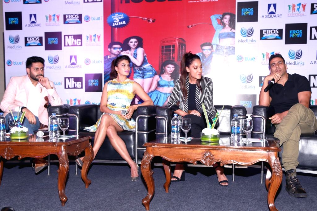 Actors Akshay Kumar, Abhishek Bachchan, Jacqueline Fernandez and Lisa Haydon during a promotional event of their upcoming film `Housefull 3` in New Delhi on May 25, 2016. - Akshay Kumar, Abhishek Bachchan, Jacqueline Fernandez and Lisa Haydon