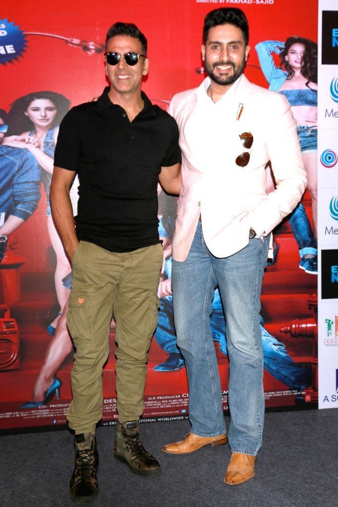 Actors Akshay Kumar and Abhishek Bachchan during a promotional event of their upcoming film `Housefull 3` in New Delhi on May 25, 2016. - Akshay Kumar and Abhishek Bachchan