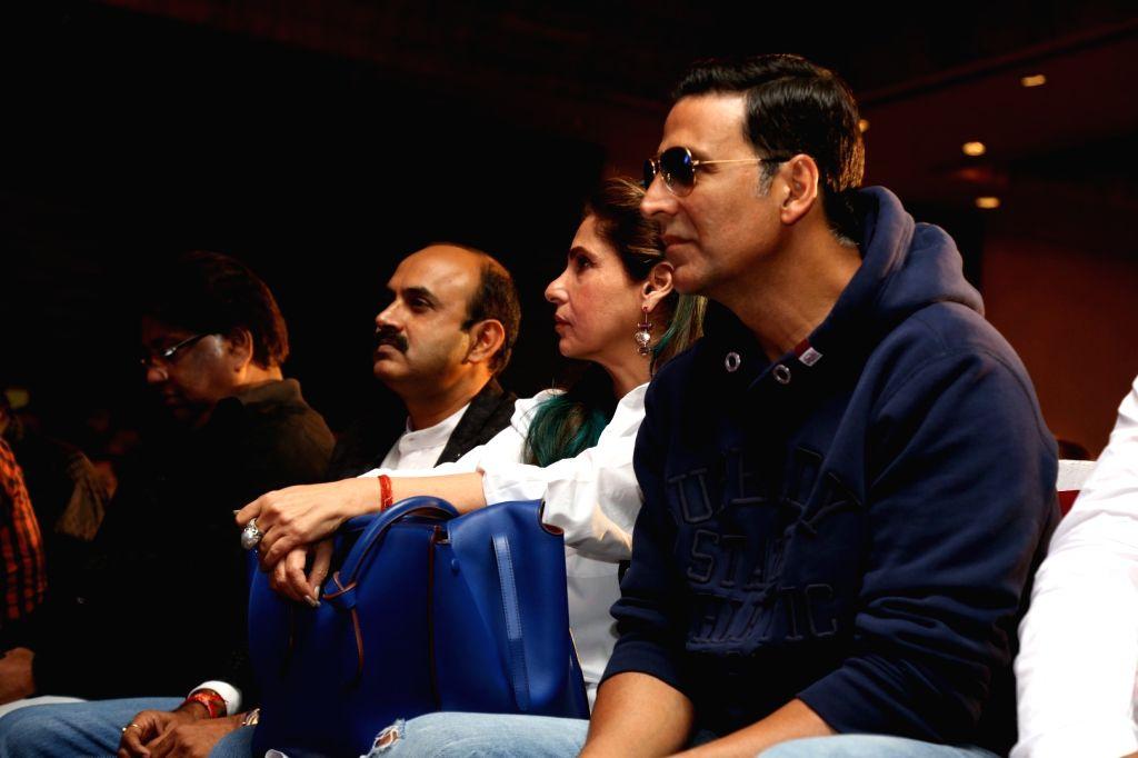 Actors Akshay Kumar and Dimple Kapadia during the music launch of Marathi film Kaul Manacha, in Mumbai, on Sept 27, 2016. - Akshay Kumar and Dimple Kapadia