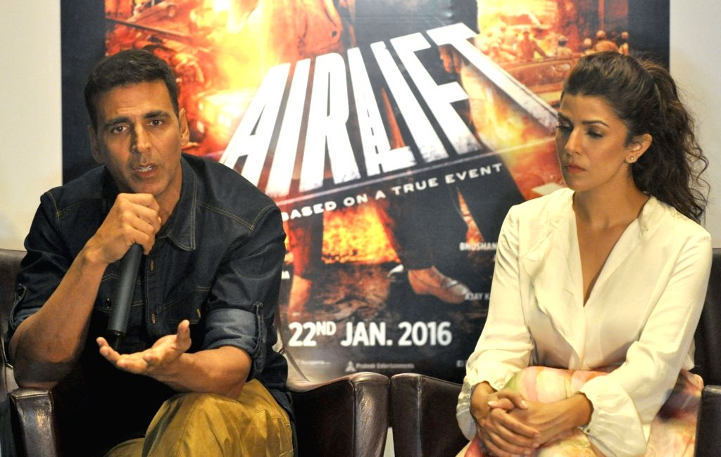 Actors Akshay Kumar and Nimrat Kaur during promotion of their upcoming film`Airlift` in Kolkata, on Jan 14, 2016. - Akshay Kumar and Nimrat Kaur