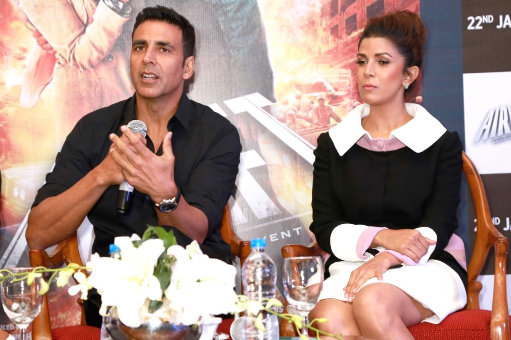 Actors Akshay Kumar and Nimrat Kaur during a press meet for their upcoming film `Airlift`, in New Delhi on Jan 18, 2016. - Akshay Kumar and Nimrat Kaur