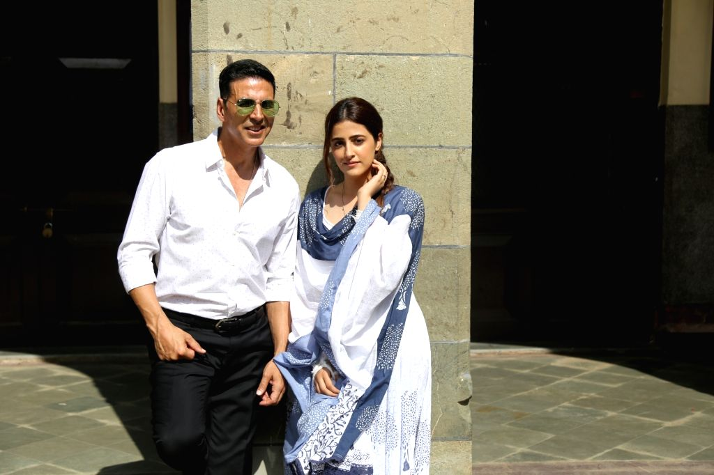 "Actors Akshay Kumar and Nupur Sanon during the shooting of music video ""Filhaal"" in Mumbai on Sep 21, 2019. - Akshay Kumar and Nupur Sanon"