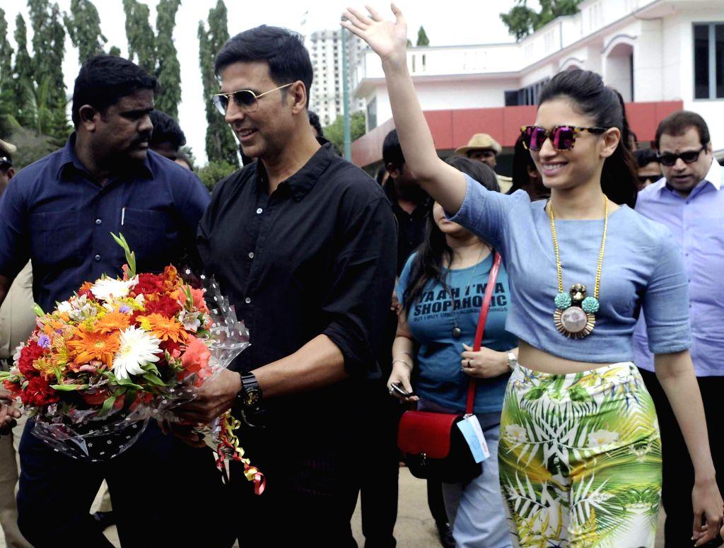 Actors Akshay Kumar  and Tamannaah Bhatia during promotion of their upcoming film ' Entertainment' in Bangalore on Aug 4, 2014. - Akshay Kumar