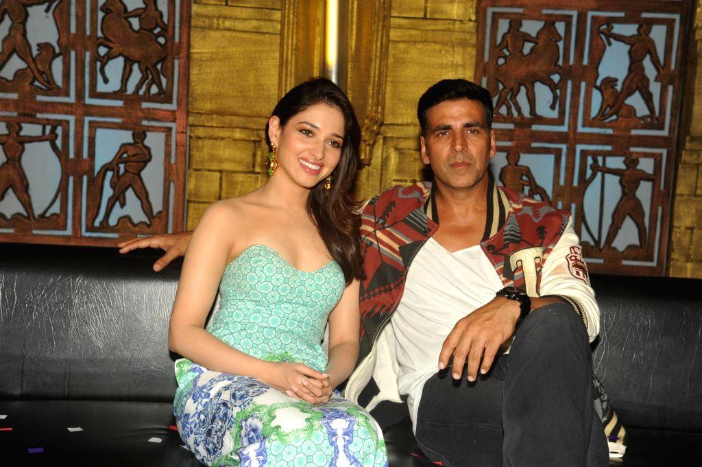 Actors Akshay Kumar and Tamannaah Bhatia on the sets of Entertainment Ke Liye Kuch Bhi Karega (EKLKBK) to promote upcoming film Entertainment in Mumbai on July 22, 2014. - Akshay Kumar and Tamannaah Bhatia
