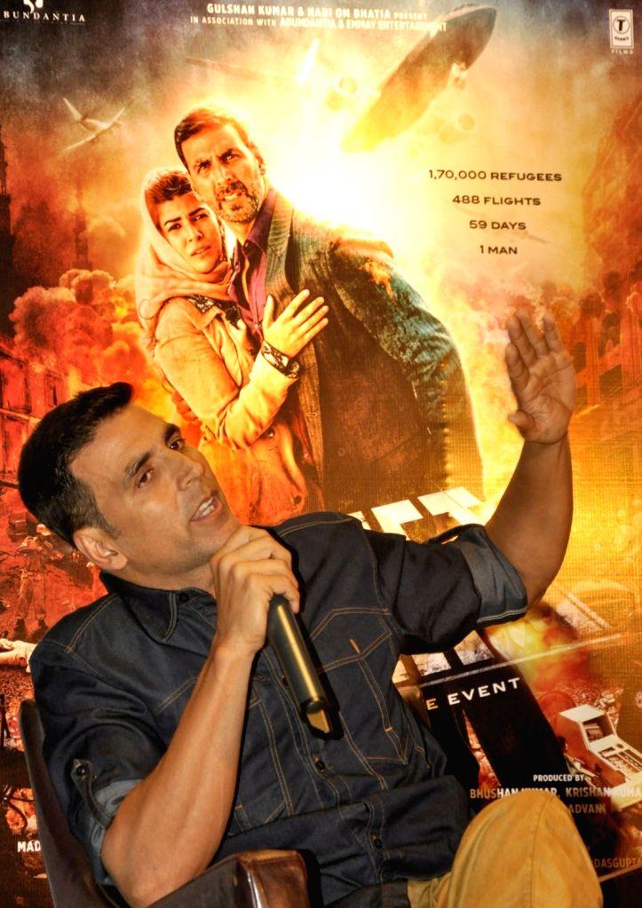 Actors Akshay Kumar  during promotion of his upcoming film`Airlift` in Kolkata, on Jan 14, 2016. - Akshay Kumar