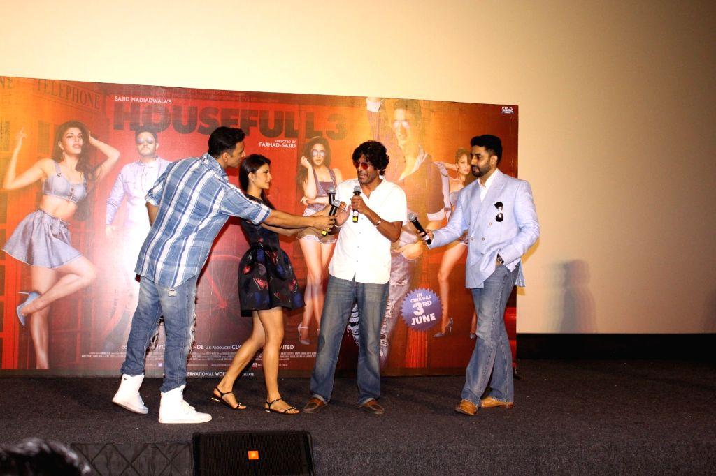 Actors Akshay Kumar, Jacqueline Fernandez, Chunky Pandey and Abhishek Bachchan during the press conference of film Housefull 3, in Mumbai, on June 2, 2016. - Akshay Kumar, Jacqueline Fernandez, Chunky Pandey and Abhishek Bachchan