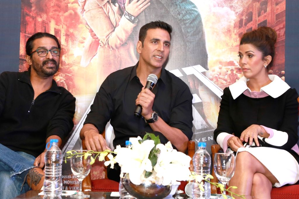 Actors Akshay Kumar, Nimrat Kaur and director Raja Krishnan Menon during a press meet for their upcoming film `Airlift`, in New Delhi on Jan 18, 2016. - Akshay Kumar, Nimrat Kaur and Krishnan Menon