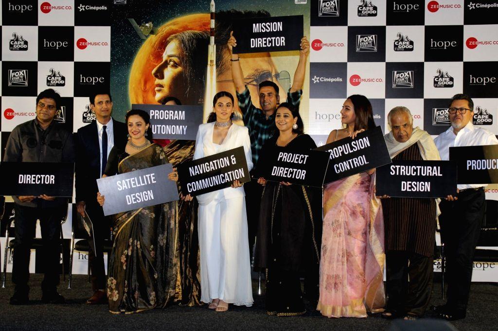 "Actors Akshay Kumar, Taapsee Pannu, Sonakshi Sinha, Kirti Kulhari, Vidya Balan, Nithya Menon and Sharman Joshi at the trailer launch of their upcoming film ""Mission Mangal"" in ... - Akshay Kumar, Taapsee Pannu, Sonakshi Sinha, Kirti Kulhari, Vidya Balan, Nithya Menon and Sharman Joshi"