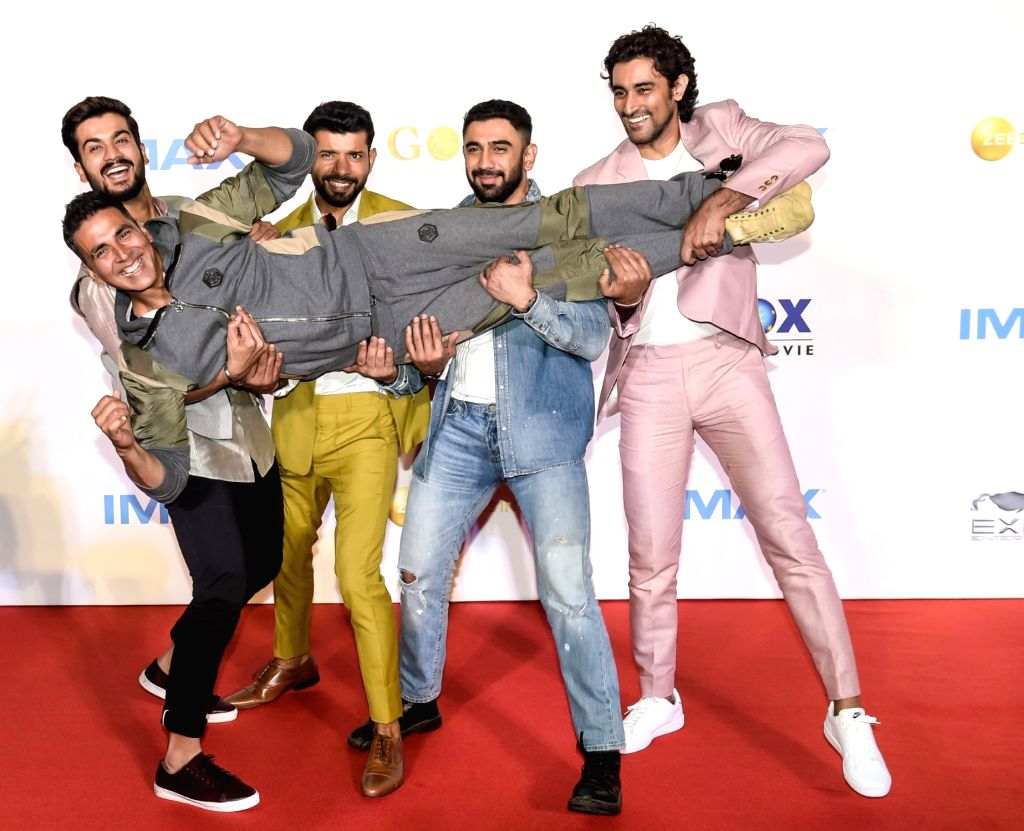 "Actors Akshay Kumar, Vineet Kumar Singh, Amit Sadh, Kunal Kapoor and Sunny Kaushal at the IMAX trailer and poster launch of their upcoming film ""Gold"" in Mumbai on August 1, 2018. - Akshay Kumar, Vineet Kumar Singh, Amit Sadh, Kunal Kapoor and Sunny Kaushal"