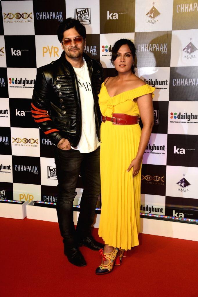 "Actors Ali Fazal and Richa Chaddha at the screening of the film ""Chhapaak"" in Mumbai on Jan 8, 2020. - Ali Fazal and Richa Chaddha"