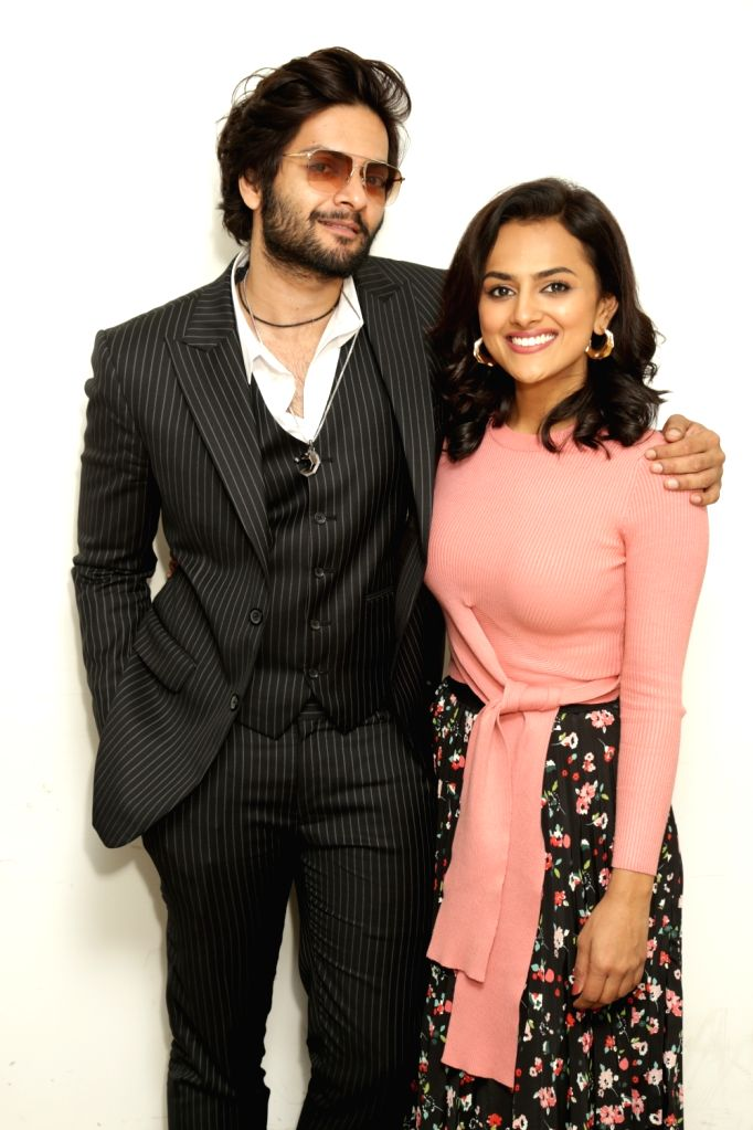 """Actors Ali Fazal and Shraddha Srinath during an interaction programme ahead of the release of their upcoming film """"Milan Talkies"""" at IANS office, in Noida, on March 13, 2019. - Ali Fazal and Shraddha Srinath"""