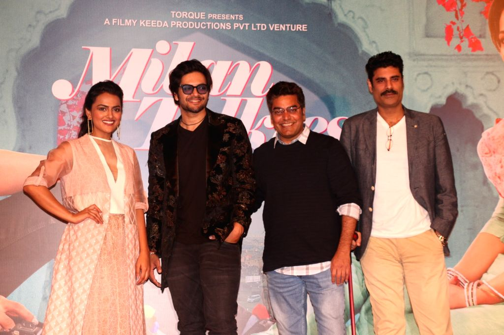 "Actors Ali Fazal, Sikandar Kher, Ashutosh Rana and Shraddha Srinath at the trailer launch of their upcoming film ""Milan Talkies"" in Mumbai, on Feb 20, 2019. - Ali Fazal, Sikandar Kher, Ashutosh Rana and Shraddha Srinath"