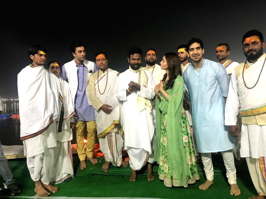 "Actors Alia Bhatt and Ranbir Kapoor with director Ayan Mukerji during the launch of their upcoming film logo ""Brahmastra"" at Sangam - the trinity of rivers Ganga, Yamuna and the ... - Ayan Mukerji, Alia Bhatt and Ranbir Kapoor"