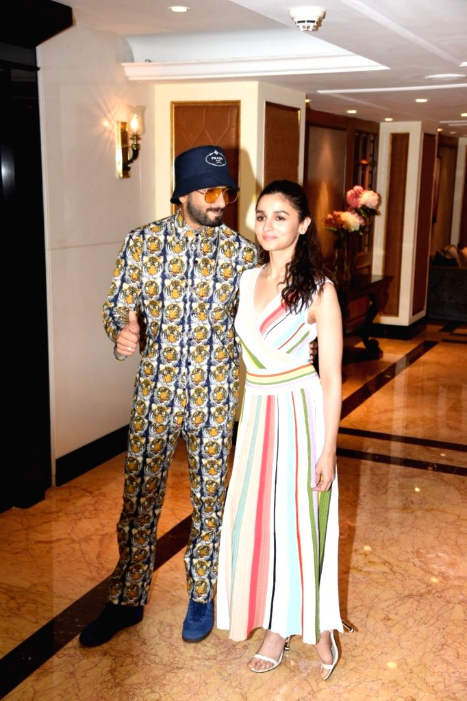 """Actors Alia Bhatt and Ranveer Singh at the promotional interview of their upcoming film """"Gully Boy"""" in Mumbai, on Feb 5, 2019. - Alia Bhatt and Ranveer Singh"""
