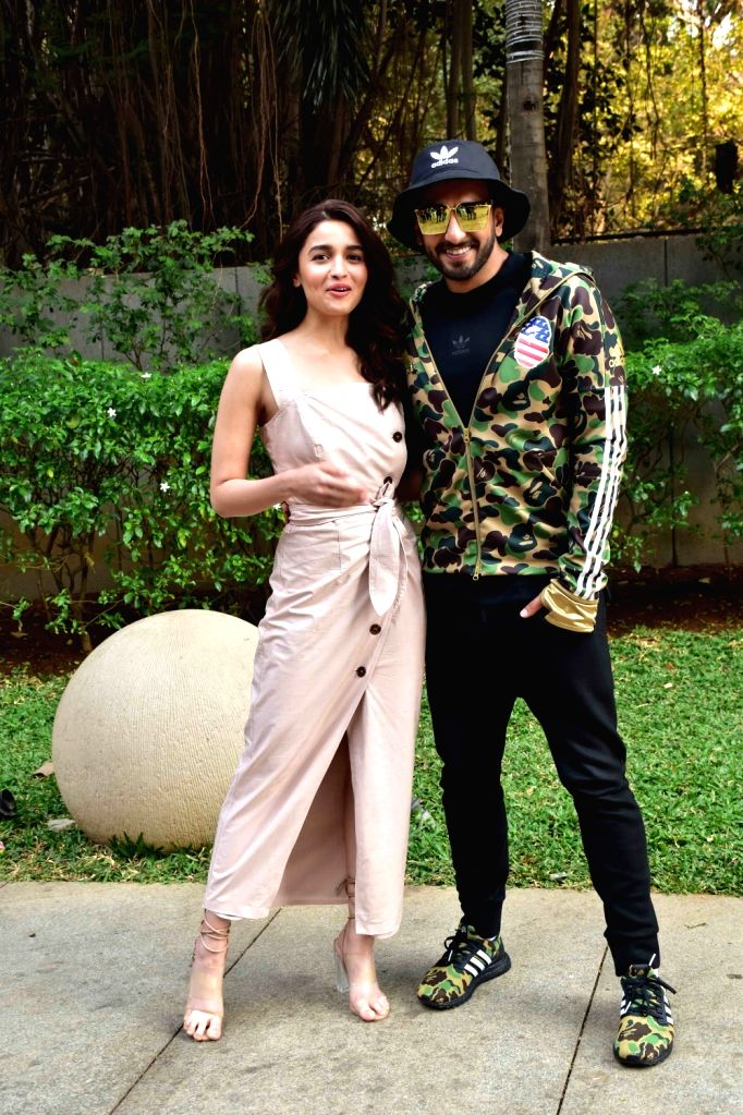 "Actors Alia Bhatt and Ranveer Singh during the promotions of their upcoming film ""Gully Boy"" in Mumbai, on Feb 5, 2019. - Alia Bhatt and Ranveer Singh"