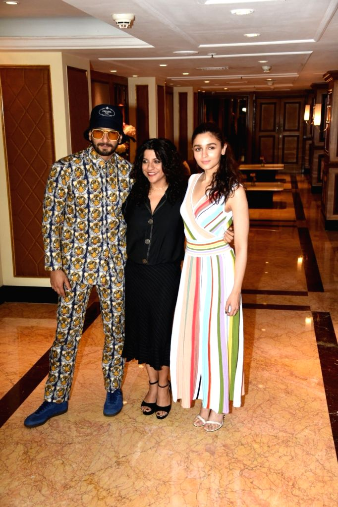 """Actors Alia Bhatt and Ranveer Singh with director Zoya Akhtar at the promotional interview of their upcoming film """"Gully Boy"""" in Mumbai, on Feb 6, 2019. - Zoya Akhtar, Alia Bhatt and Ranveer Singh"""