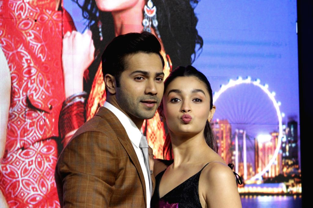 Actors Alia Bhatt and Varun Dhawan during the press conference of Singapore Tourism Board to promote their film Badrinath Ki Dulhania in Mumbai on Feb 27, 2017 - Alia Bhatt and Varun Dhawan
