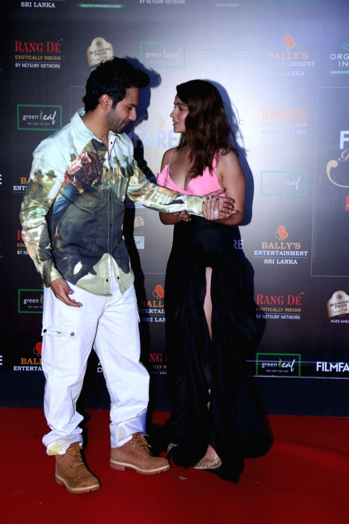 Actors Alia Bhatt and Varun Dhawan on the red carpet of Filmfare Glamour And Style Awards 2019 in Mumbai on Dec 3, 2019. - Alia Bhatt and Varun Dhawan