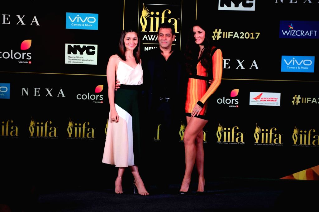 Actors Alia Bhatt, Salman Khan and Katrina Kaif during the press conference of 18th International Indian Film Academy (IIFA) awards in Mumbai on June 1, 2017. - Alia Bhatt, Salman Khan and Katrina Kaif