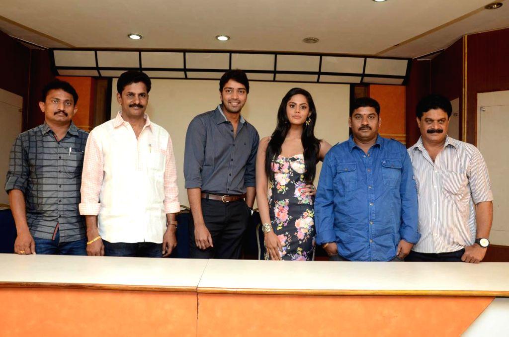 Actors Allari Naresh, Monal Gajjar and Karthika during a press meet of their untitle film in Hyderabad. - Allari Naresh, Monal Gajjar and Karthika