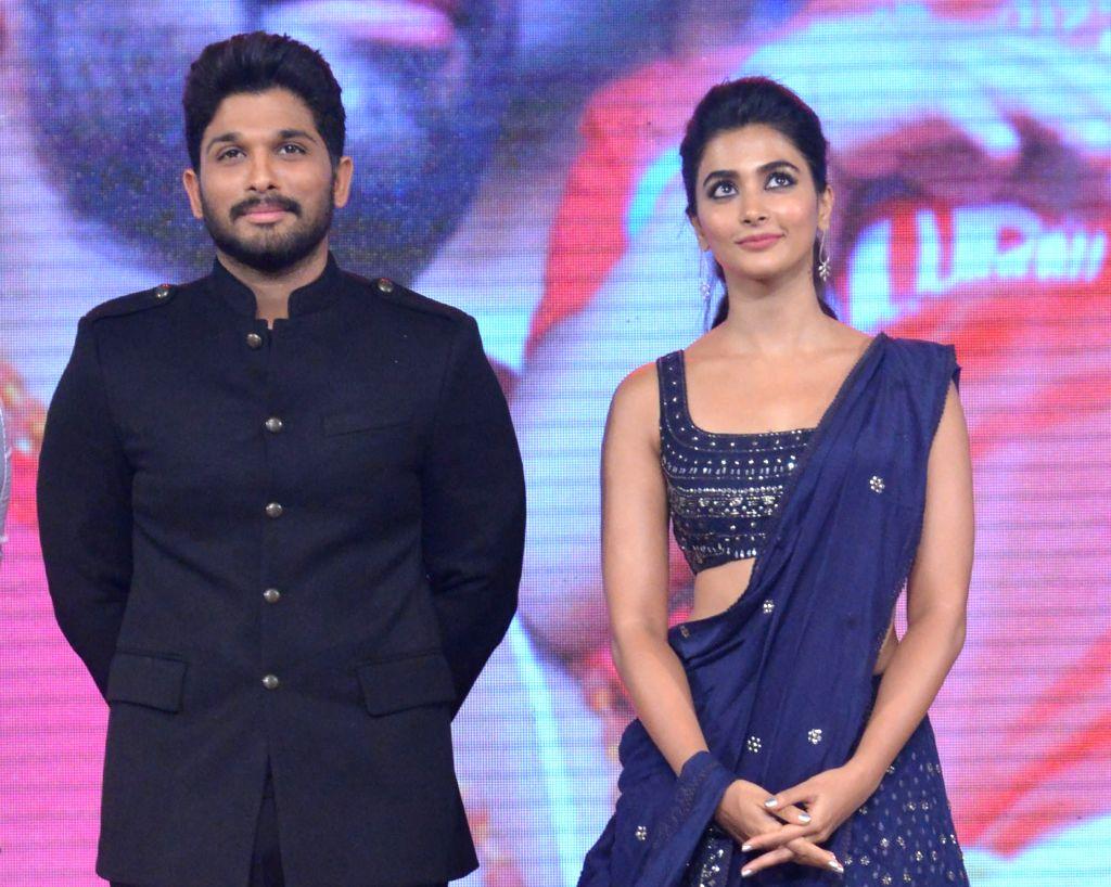 Actors Allu Arjun and Pooja Hegde during the movie auido launch of film Duvvada Jagannadham on Hyderabad, June 11, 2017. - Allu Arjun and Pooja Hegde
