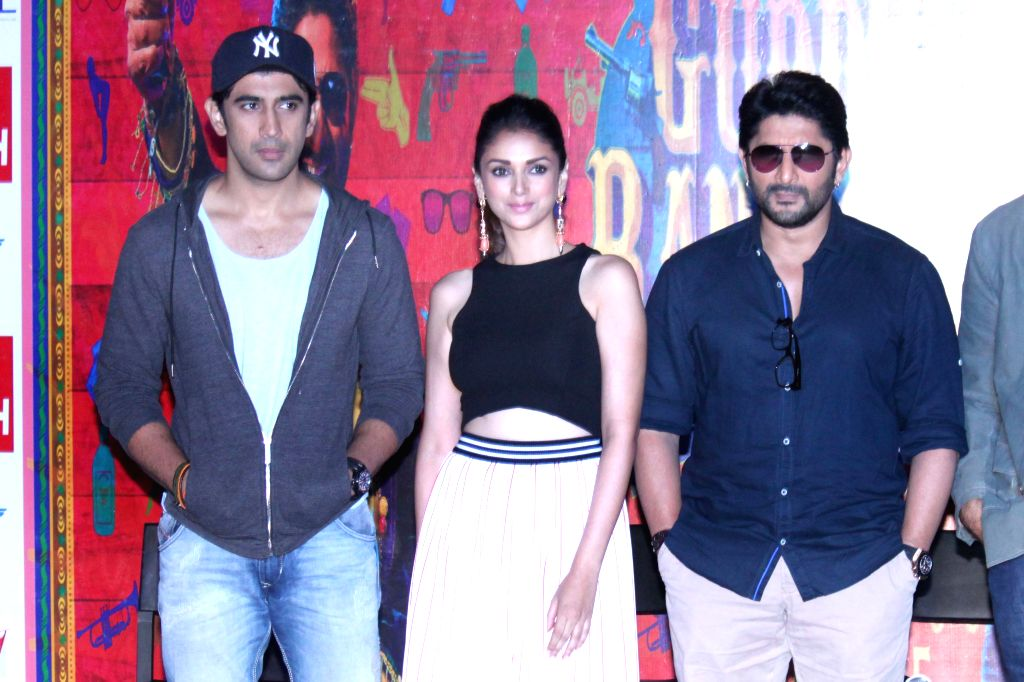 Actors Amit Sadh, Aditi Rao Hydari and Arshad Warsi during a press conference of their upcoming film ``Guddu Rangeela`` in Gurgaon on June 29, 2015. - Amit Sadh, Aditi Rao Hydari and Arshad Warsi