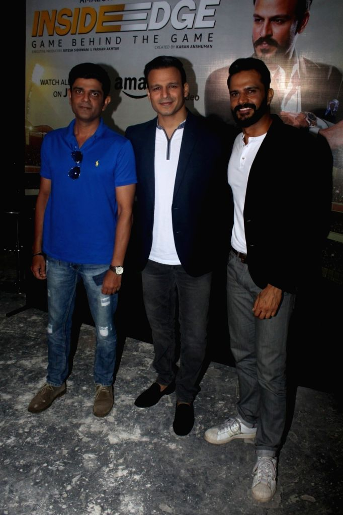 "Actors Amit Sial, Vivek Oberoi and Jitin Gulati during promotion of television series ""Inside Edge"" in Mumbai on July 4, 2017. - Amit Sial, Vivek Oberoi and Jitin Gulati"