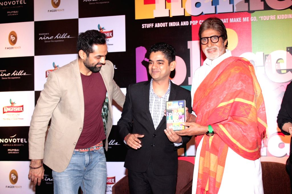 Actors Amitabh Bachchan, Abhay Deol, filmmakers Pooja and Sudhir Mishra during the book launch `Name Palce Animal Thing` written by Mayank Shekhar in Mumbai, on March 31, 2016. - Amitabh Bachchan, Abhay Deol and Sudhir Mishra
